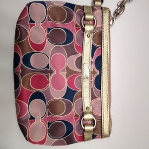 Coach Ashley multicolor sig c wristlet